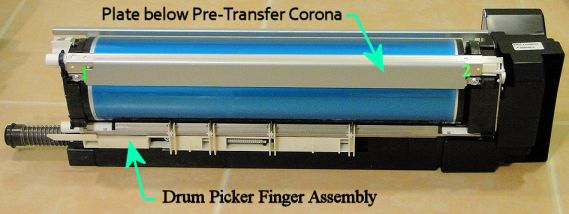 Drum Picker Finger Assembly & the Metal Plate under the Pre-Transfer Corona